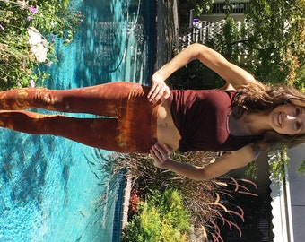 """Earth Brown Orange Leggings Including Plus Sizes 30"""" Inseam"""