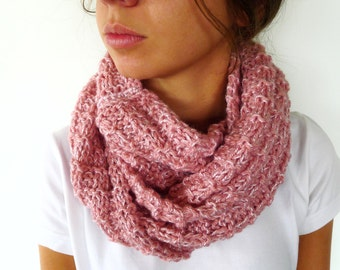 Cowl neck scarf in pink | Pink infinity scarf | Merino wool neck warmer | Textured knit scarf