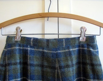 1960'S Scottish Skirt Wool Plaid A-line, Skirt, Scotland, Gala Forest Tweed, Shetland, Wool, Plaid, A-line, Knee Length, Blue, Green, Small