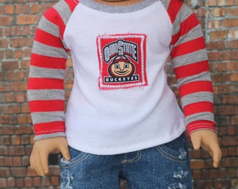Ohio Baseball Tee | Trendy Football Graphic Long Sleeve Fitted RAGLAN TEE for 18 Inch Doll American Made