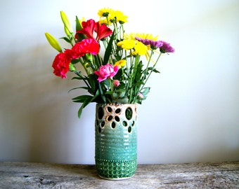 MADE TO ORDER.....Vase, Ceramic, Wheel Thrown and Altered, Pierced and Textured in Greens and Browns