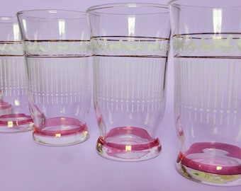 Mid Century Pink & White Drinking Glasses, Set of 6, Horse and Carriage Design, Retro Glassware, 1950s Barware, Vintage Wedding, Bar Decor