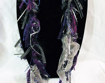 Purple Black Silver Scarf / Scarves / Handmade / Crocheted / Womens / Clothing / Accessories / Gift for Her