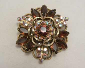 Vintage Signed Selini Topaz & AB Glass Stacked Flower Brooch