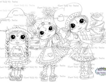 INSTANT DOWMLOAD Digital Digi Stamps Big Eye Big Head Dolls Digi  My Besties 3 Little Bestie BakersBy Sherri Baldy