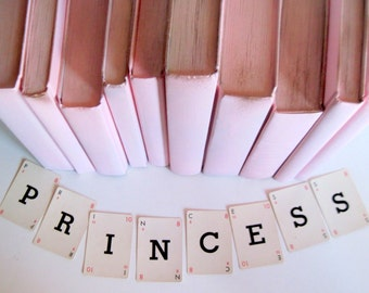 Pink Princess Books, Girls Pink Books, Pink Wedding Books, Beach Wedding, Nursery Books,  Pink Book Stack,  Unique Painted Books, Photo Prop