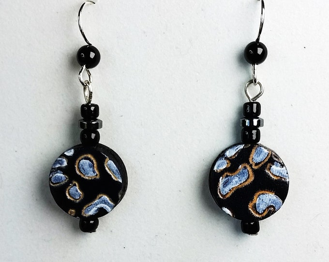 Earthy Brown Leather Coin Shaped Drop Earrings with Blue Clouds - Leather Earrings