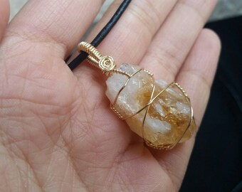 Citrine Wire Wrapped Pendant