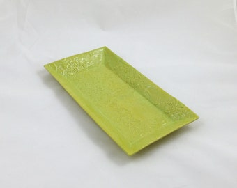 Lime Serving Tray Asian Leaf Texture Handmade Pottery by Daisy Friesen- READY TO SHIP