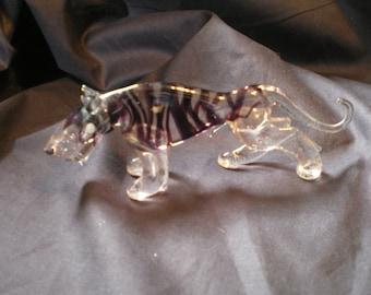 Vintage Glass Tiger Figurine