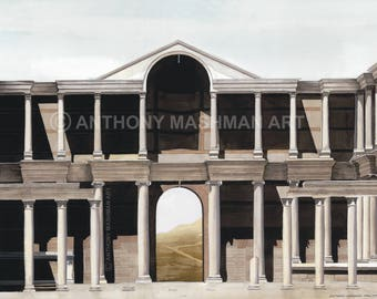 Gymnasium at Sardis, Turkey. Limited edition giclée print, professionally printed in the UK using inks and paper of archival quality.