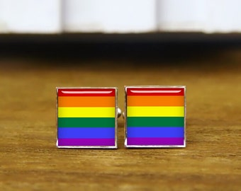 LGBT pride square cufflinks, LGBT cufflinks, custom lgbt cuff links, custom wedding cufflinks, round, square cufflinks, tie clips, or set