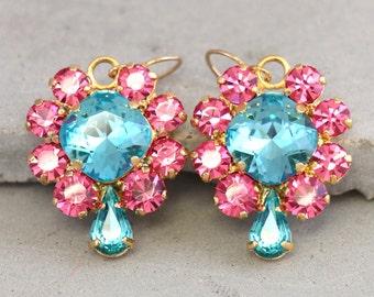 Pink Aqua Earrings,Turquoise Pink Drop Earrings,Swarovski Crystal Earrings,Pink Blue Rhinestone earrings,Gift for woman,Bridal Pink Earrings