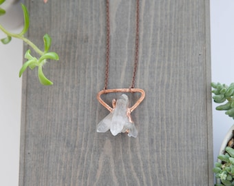 Quartz Crystal Geometric Necklace / Copper Electroformed Pendant