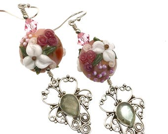 White Flower Lampwork Earrings, Artisan Labradorite Gemstone Earrings, Glass Bead Earrings, Lampwork Jewelry, Gift Idea, Drop Earrings