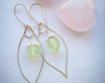 Spring leaves - prehnite, sterling silver earrings