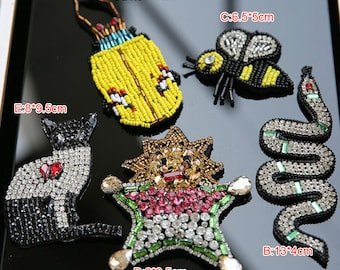 2-5pcs 4-13cm wide insects Rhinestones beads stones clothes dress appliques patch brooch X35R181P0426C free ship