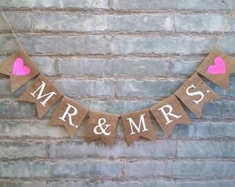 MR & MRS Burlap Banner– Wedding Banner, Engagement Banner, Reception Banner, Wedding sign, Anniversary Banner, Photo prop.