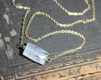Moonstone Necklace Gold Necklace Moonstone Jewelry Gemstone Rectangle Rainbow Moonstone