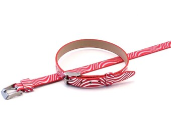 Bracelet leather red silver pattern