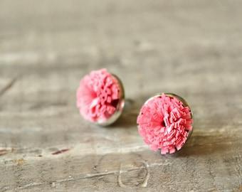 Coral Red Stud Paper Earrings, Elegant Mom Gift, Everyday Stud Earrings, Minimalist Pink Earrings, Dainty Bridesmaid Earrings