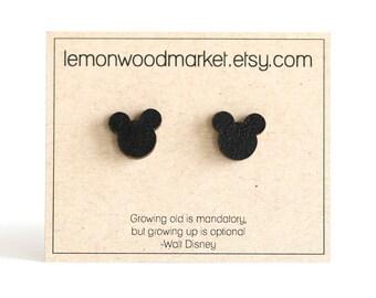 Mickey mouse earrings - alder laser cut wood earrings - Mickey earrings - Disney earrings - disneyland earrings