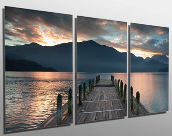 Metal Prints   Cloudy Lake, Docks During Sunset   3 Panel Split, Triptych    Multi Metal Wall Art HD Aluminum Prints For Interior Design