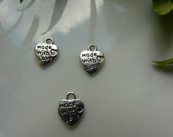 x 2 silver heart pendant made with love