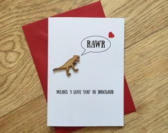 Dinosaurio lujo tarjeta / San Valentín / aniversario / amor / novio / novia / RAWR