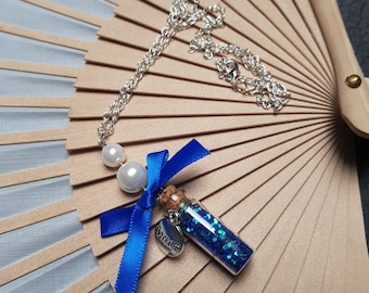 """Blue Mini Bottle Necklace with Bow and """"Dream"""" Pendant"""