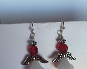Red white Angel earrings made with nickle free sterling silver posts.