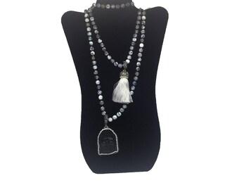Black Buddha Pendant Dragon Vein Necklace with White Tassel