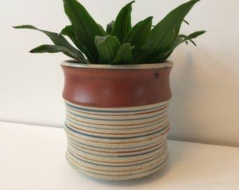 Mid Century Otagirl striped pottery hanging planter / Japanese