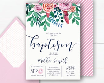 Floral Baptism Invitation | Baptism Invitation Girl | Baptism Invite | Christening Invitation | Baptism Invitations Printable