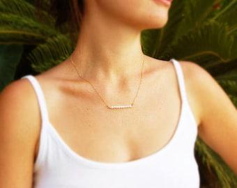Tiny pearl necklace,bar necklace,pearl necklace,bridesmaid necklace,bridal jewelry,delicate necklace,everyday necklace,wedding,
