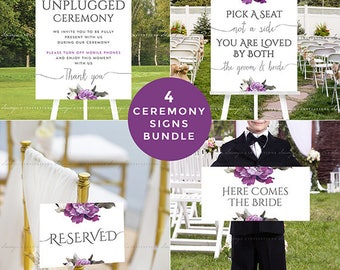 Unplugged Ceremony Sign, Pick A Seat Not A Side Sign, Reserved Sign, Here Comes the Bride Sign, Purple PRINTABLE Ceremony Wedding Signs