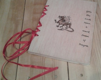 Notebook with Wooden Covers, Personal Journal, Sketchbook, Book of Shadows, Travel Diary, Have your own Design made into a Book