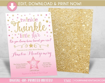 Twinkle Twinkle Little Star Baby Shower Invitation, Girl Twinkle Twinkle Shower Invitation, Pink and Gold Star Invite, Baby Shower • BS-T-01