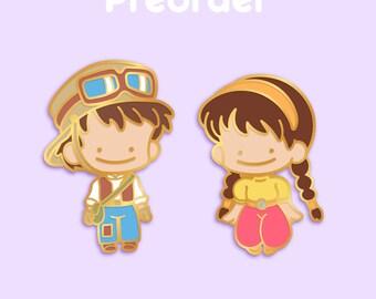 PREORDER PAZU SHEETA Ditto x Anime Movie Enamel Pin Pair [Studio Ghibli Laputa Castle in the Sky Chibi Balse Miyazaki Japanese Film Pokemon]