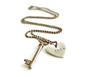 Vintage Key Necklace . silver heart necklace . boyfriend necklace . vintage skeleton key necklace . Key to My Heart necklace