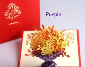 3D  Pop Up Greeting Card - Birthday Card - Pop Up Card - Thank You Card (3 Colours to Choose)