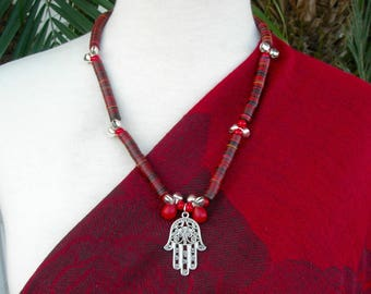 Silver Moroccan Evil Eye Hamsa, African Vulcanite Disks, 2 Red Mali Wedding Beads, Silver Bells, Silk Road Collection, Set by SandraDesigns