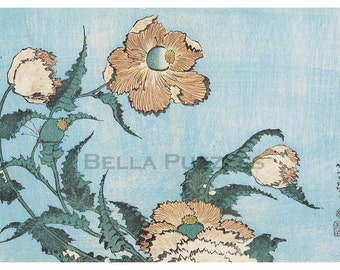Hand-cut wooden jigsaw puzzle. FADED POPPIES. Hokusai. Japanese woodblock print. Wood, collectible. Bella Puzzles.