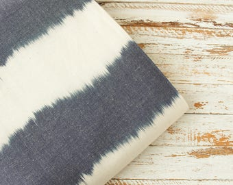 1 yard of Woven Fabric, Indian Cotton Fabric, Blue and Off-White Striped Fabric, Yarn Dyed Fabric