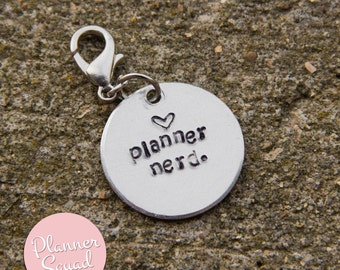 Planner Nerd Hand-Stamped Metal Aluminum Planner Charm with lobster claw
