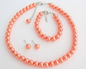 Orange Pearl Set Orange Pearl Necklace Orange Pearl Bracelet Orange Pearl Earrings Bridesmaid Free Shipping In USA