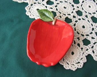 Red Apple Teabag Holder, Spoon Rest or Trinket Dish