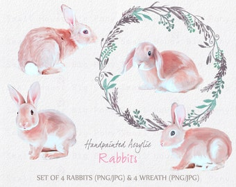 Digital Clipart- Hand painted Acrylic Rabbits and Wreath