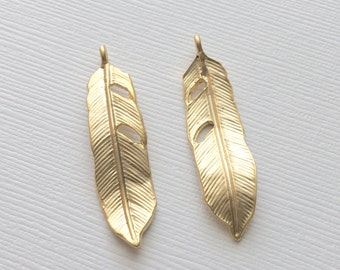 Gold Feather Pendant, Matte Gold Feather Charm, Gold Leaf Pendant, Boho Pendant, Jewelry Making Supplies, Wholesale supplies, Matte Gold