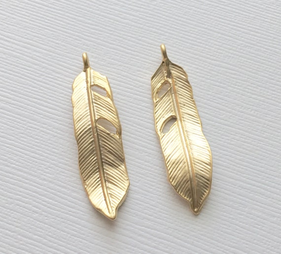 Gold Feather Pendant Matte Gold Feather Charm Gold Leaf